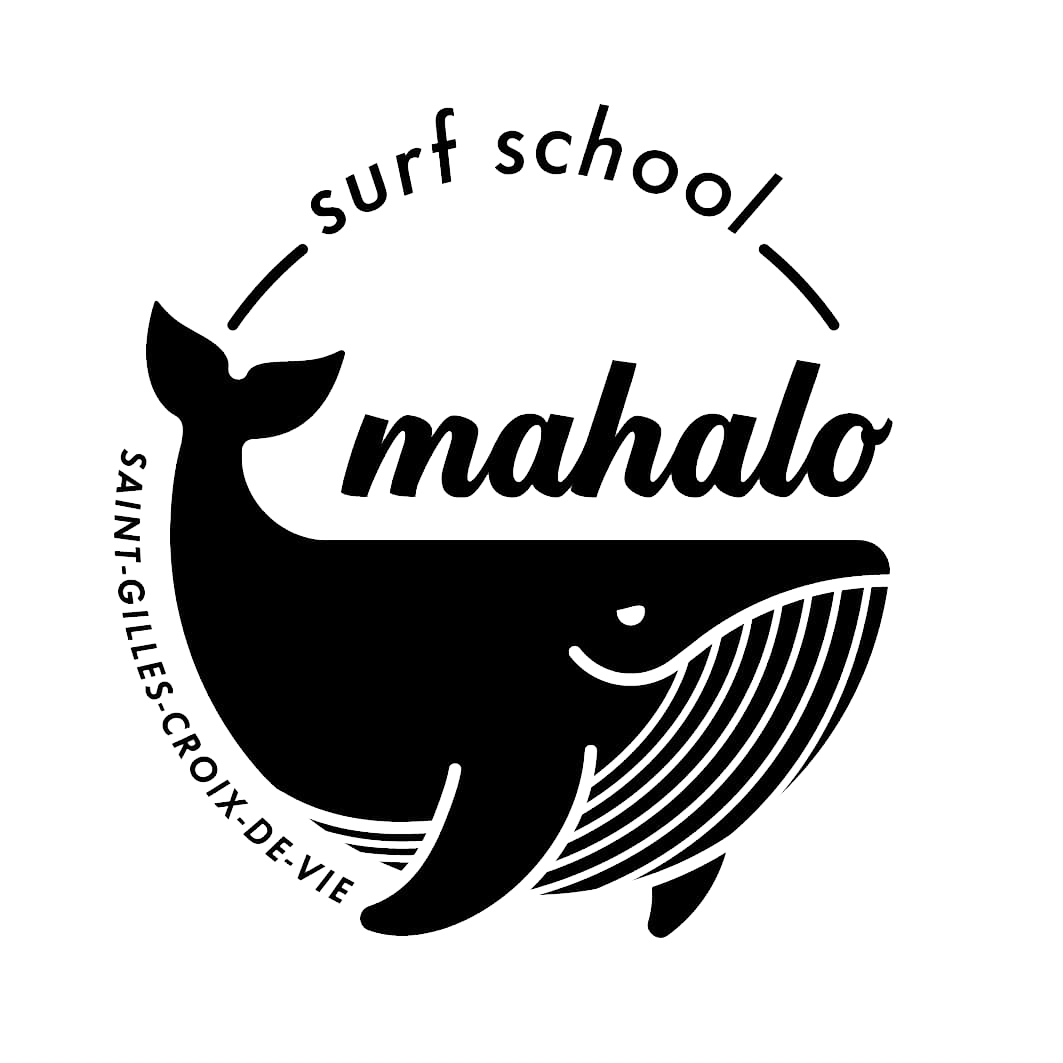 Mahalo surf school logo noir accueil